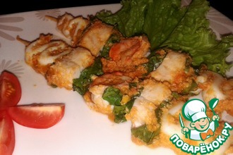 Рецепт: Шашлык (кебаб) из морепродуктов в орехово-томатном соусе