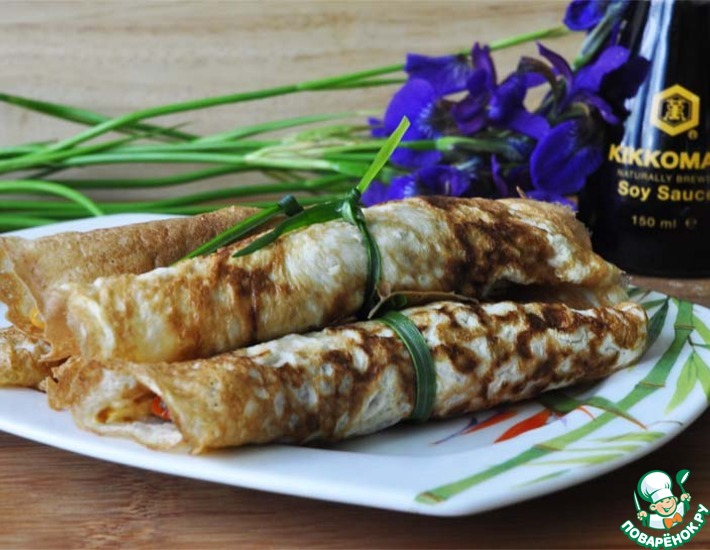 Рецепт: Китайские яичные блинчики с начинкой