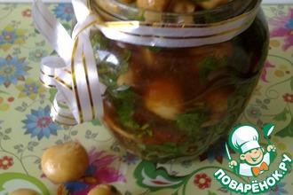 Рецепт: Маринованные шампиньоны в соевом соусе по-корейски