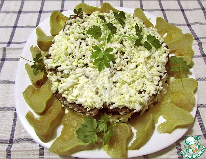 Рецепт: Печёночный торт с овощами и грибами