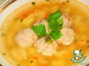 My soup with dumplings and meatballs