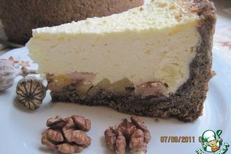 Рецепт: Творожно-яблочный пирог с маково-ореховой основой