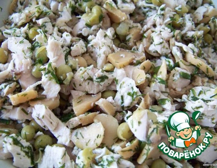 Рецепт: Салат Курица на горошине