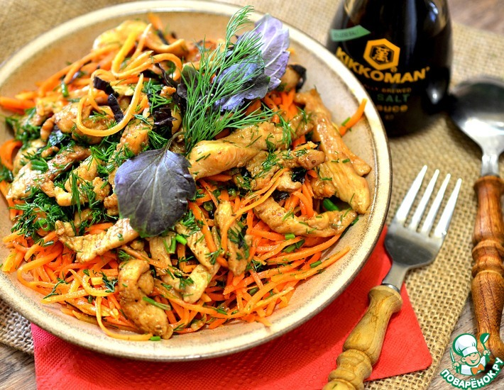 Рецепт: Закусочный острый салат с курицей