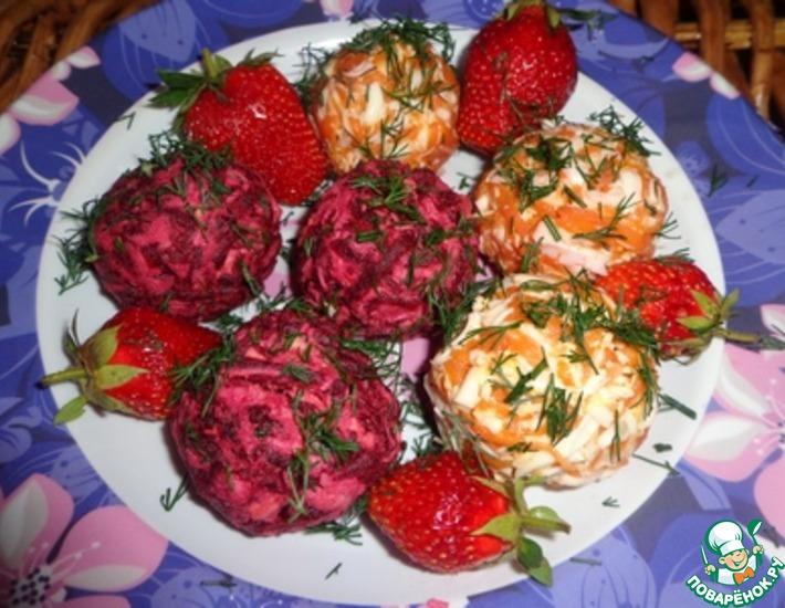 Рецепт: Закуска из свеклы и моркови с земляникой и грецкими орехами Летний сюрприз
