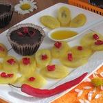 Шоколадное суфле с соевым соусом и бананами