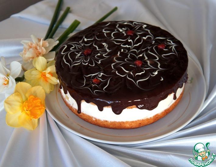 Рецепт: Простой торт с нежнейшим творожным кремом