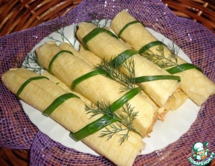 Рецепт: Вафельные трубочки с мясной начинкой Удачный пикник!