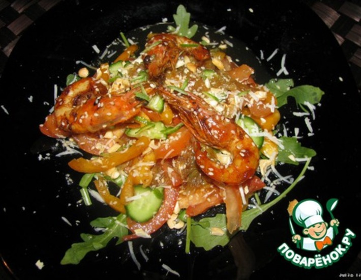Рецепт: Салат с креветками Пылающее море