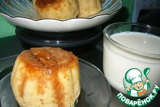 Рецепт: Паровые кексики-пышечки с конфетами коровка