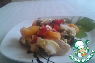 Рецепт: Куриная грудка под овощами