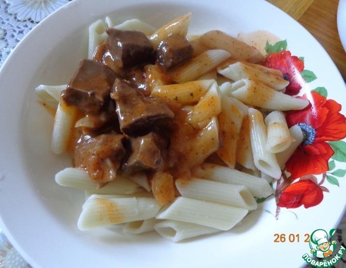 Рецепт: Тушеное говяжье сердце с подливой