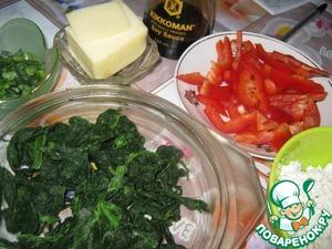Куриная лепешка с перцем, творогом и шпинатом – кулинарный рецепт