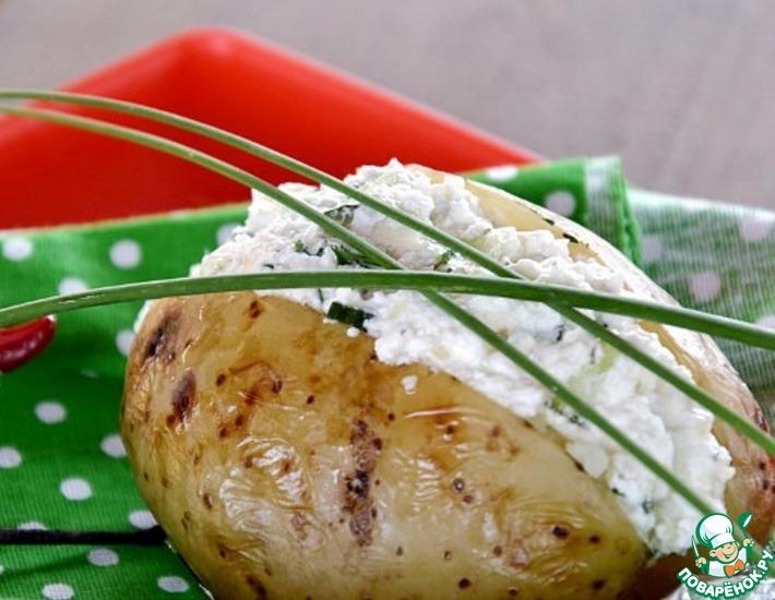 Рецепт: Печёный картофель с творожным салатом