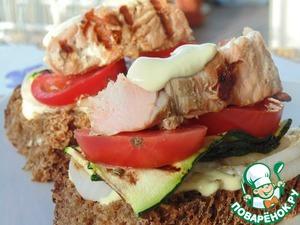 Рецепт Бутерброды с кетой и овощами на гриле