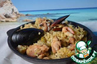 Рецепт: Паэлья с курицей и морепродуктами