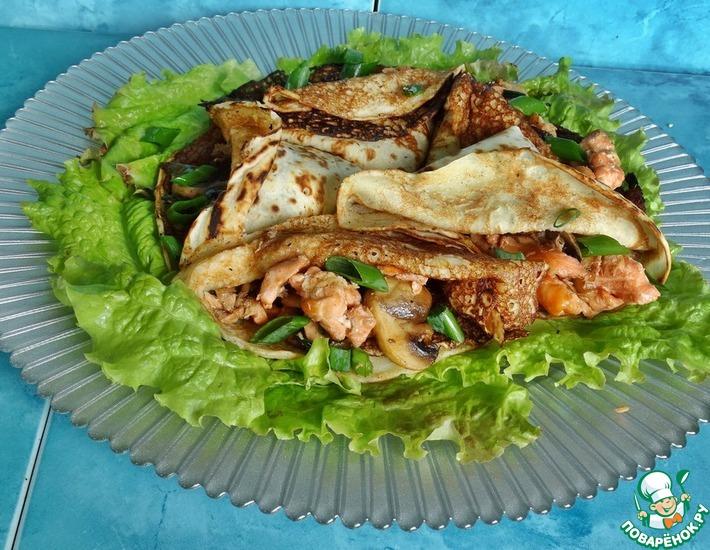 Рецепт: Блинчики с лососем по-восточному