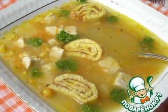 Рецепт: Кукурузный суп с яичными улитками