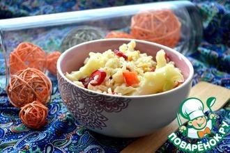 Рецепт: Теплый средиземноморский салат с коричневым рисом и цветной капустой