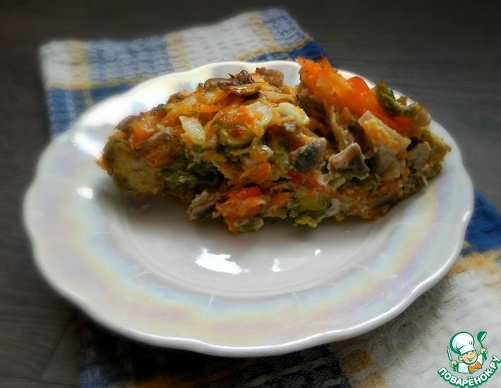 Рецепт: Запеканка из брюссельской капусты с шампиньонами