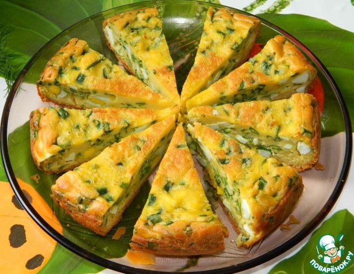 Рецепт: Пирог с яйцами и зеленым луком