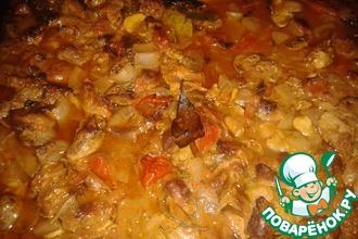 Рецепт: Куриные потрошка с помидорами и розмарином в духовке