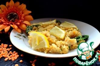 Рецепт: Паэлья со шпинатом и чечевицей