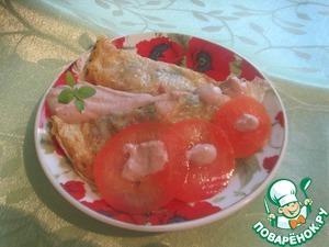 Рецепт Китайские блинчики из яиц с ветчиной