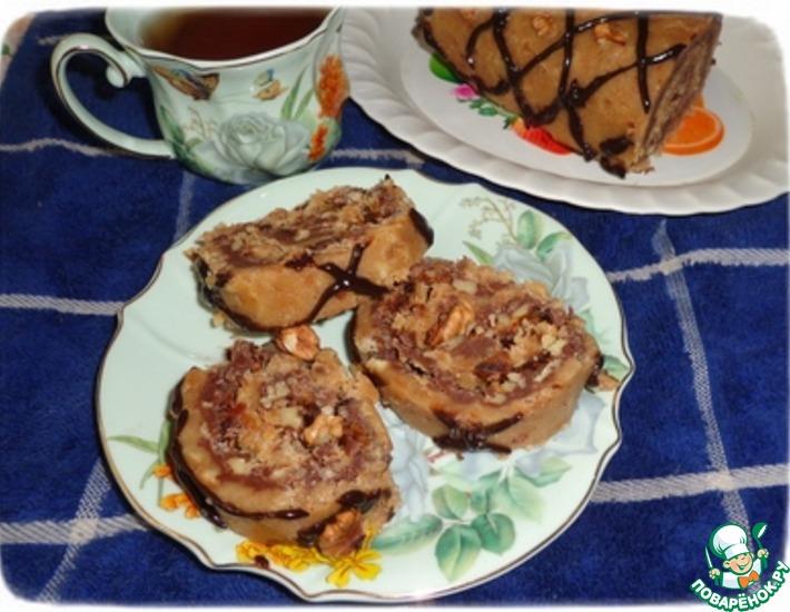 Рецепт: Рулет из печенья с шоколадно-ореховой начинкой