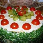 Закусочный торт Наполеон с ветчиной и сыром