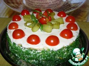 """Рецепт Закусочный торт """"Наполеон"""" с ветчиной и сыром"""