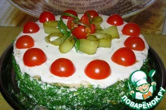 Рецепт: Закусочный торт Наполеон с ветчиной и сыром