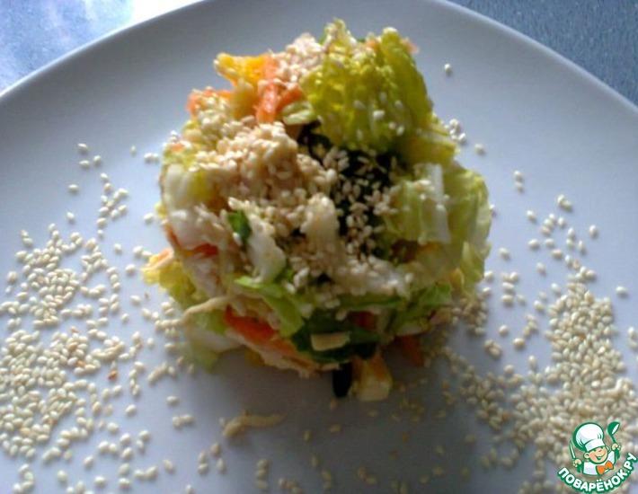 Рецепт: Салат из китайской капусты с апельсином и кунжутом