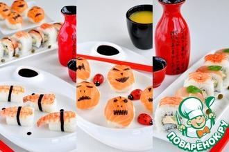 Рецепт: Суши-вечеринка для взрослых и детей-Хеллоуин темари суши, Неаполь маки и нигири с креветкой