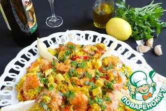 Рецепт: Паэлья с куриным филе, морепродуктами и филе палтуса