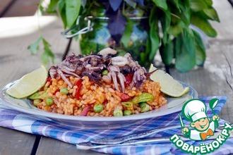 Рецепт: Паэлья с морепродуктами и зелёным горошком