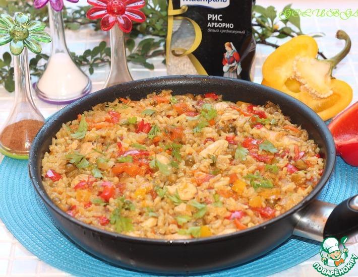 Рецепт: Паэлья с курицей, перцем и зеленым горошком
