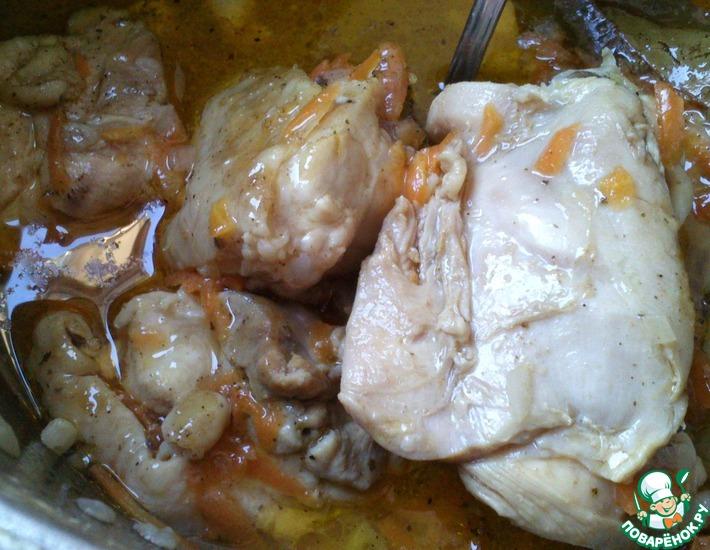 Рецепт: Тушеные куриные бедра