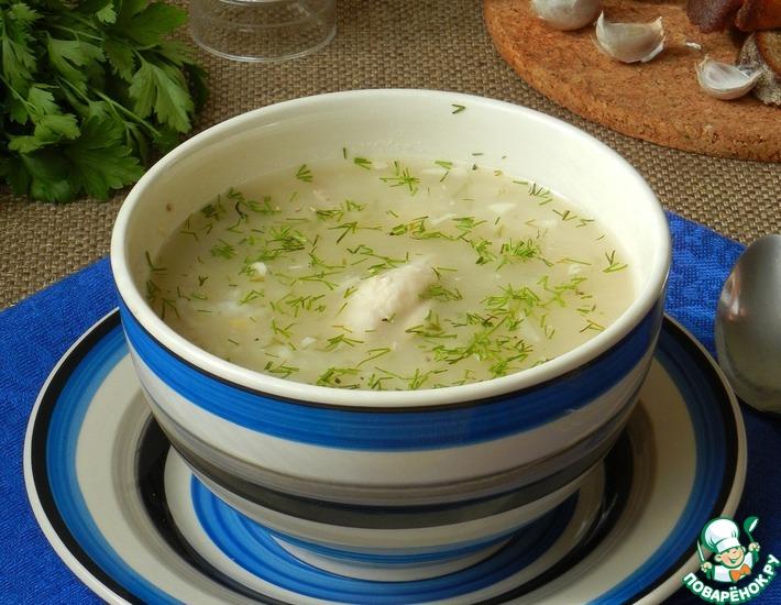 Рецепт: Суп с курицей, горохом и чесноком