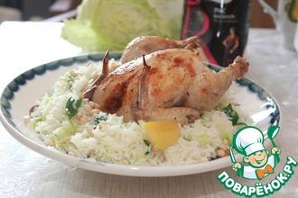 Рецепт: Цыпленок и ароматный рис со шпинатом и савойской капустой