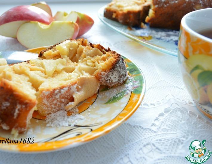 Рецепт: Творожный кекс с яблоками