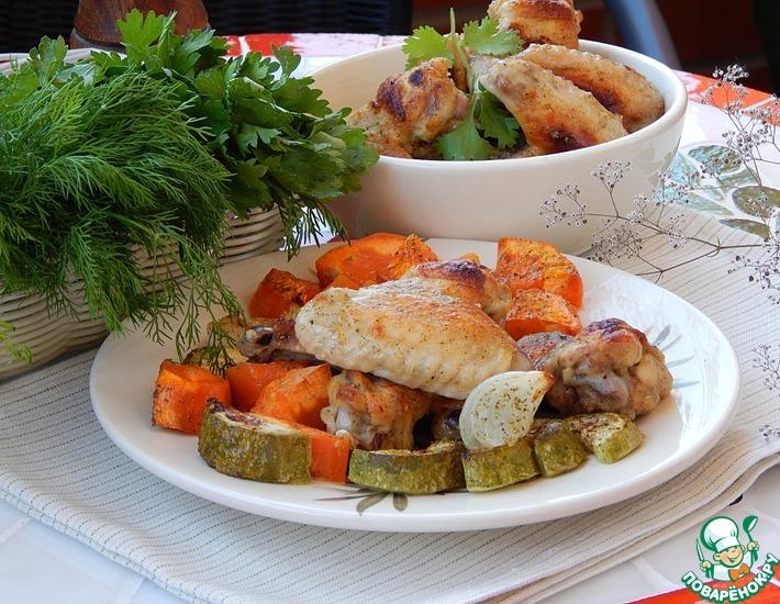 Рецепт: Крылышки куриные с овощами