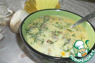 Рецепт: Сырный суп с шампиньонами и курицей