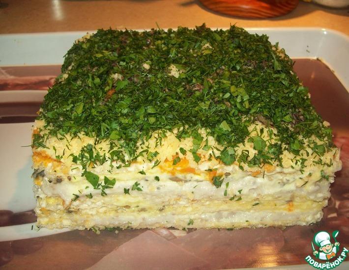 Рецепт: Селедочный торт на вафельных коржах