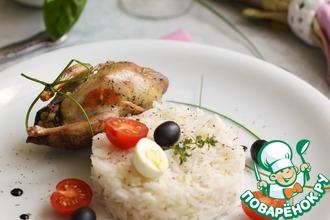 Рецепт: Перепелки фаршированные овощами и рис с ароматными травами