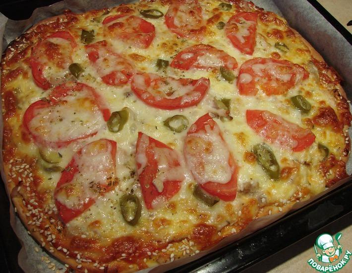 Рецепт: Острая пицца с халапеньо