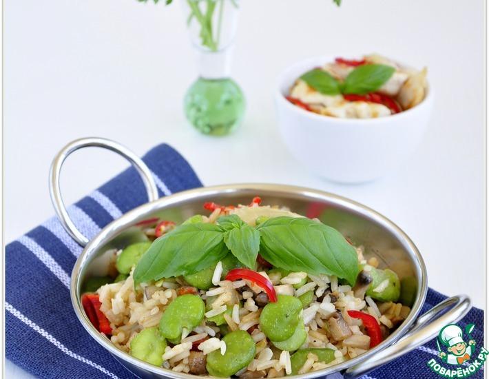 Рецепт: Рис с грибами и бобами