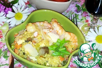 Рецепт: Ризотто с курицей, грибами, креветками и овощами