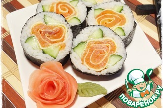 Рецепт: Роллы Роза с лососем