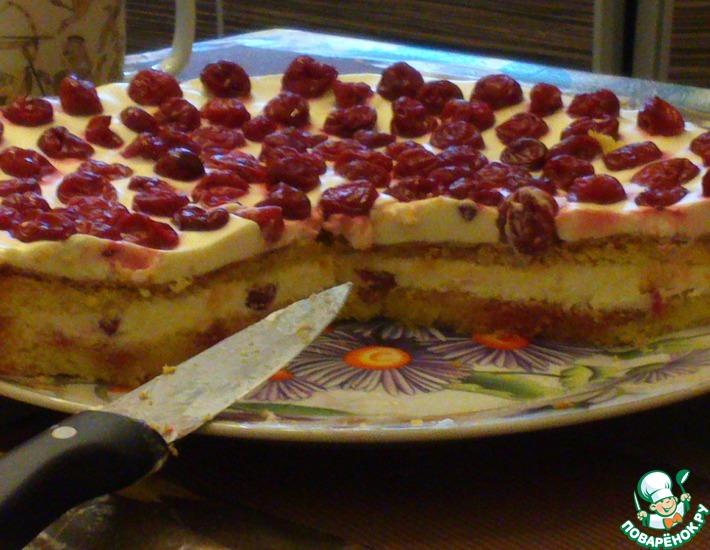 Рецепт: Вкусный бисквитный торт